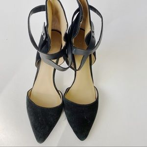 Joe's Jeans black Strappy ankle pointed toe heels